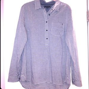TOMMY HILFIGER Large Stripe Peasant Blouse